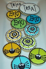 LOVE these Halloween cookies - the spiders are adorable, love the idea of putting related words on some of the cookies, and the colors are pretty.