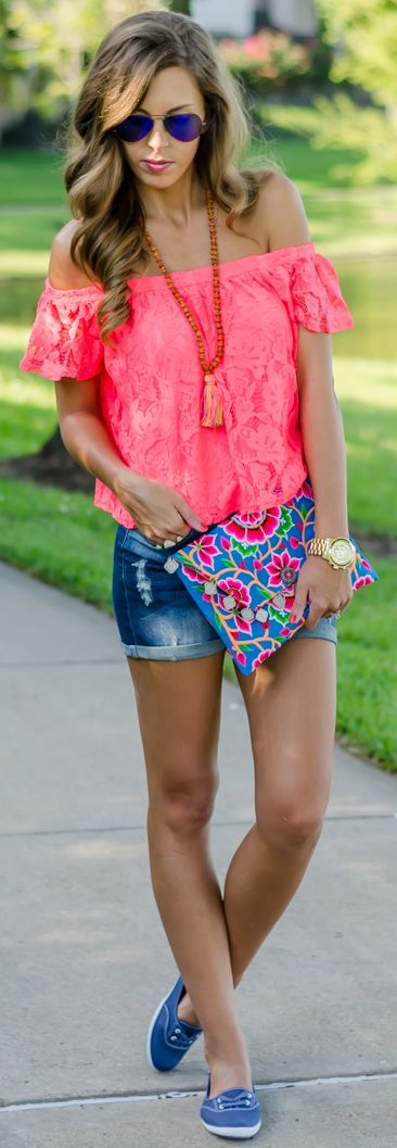 Off Shoulder Neon Top Style by For The Love Of Fancy