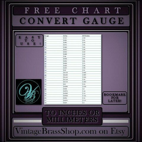 #CONVERTING GAUGE #SIZE TO INCHES AND MILLIMETERS  This is a free #chart  Chart is #helpful in converting the gauge size to inches or millimeters to determine the thickness/size. The smaller the gauge number, the larger/thicker the wire or sheet metal.