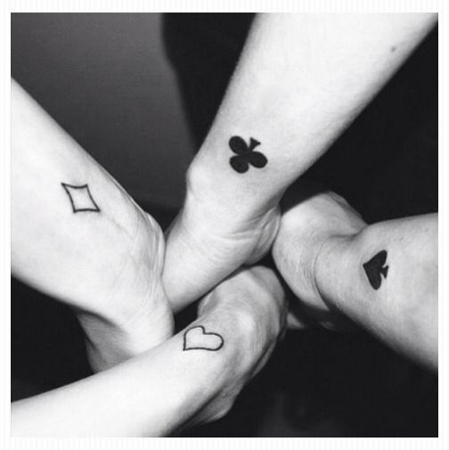 Suit set of tattoos for 4 best friends.