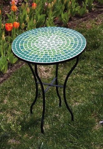Blue And Green Tile Mosaic Outdoor Round Patio Garden Side Table