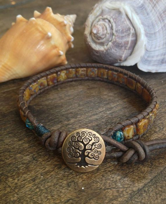 Tree of Life  Tila Leather Wrap Bracelet Boho от TwoSilverSisters