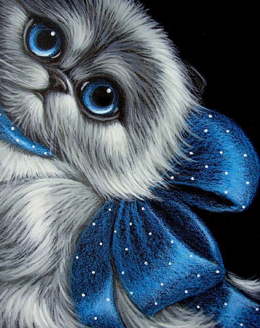 Art: BLUE POINT HIMALAYAN PERSIAN CAT - BLUE BOW by Artist Cyra R. Cancel
