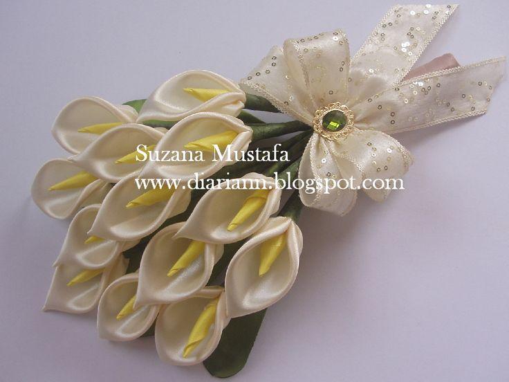20 best Ribbon Flowers images on Pinterest | Ribbon flower, Hand ...