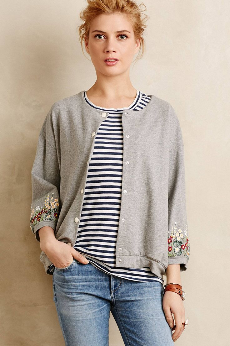 Have to thank Anthropologie for the sewing inspiration with this Embroidered Sweatshirt Jacket