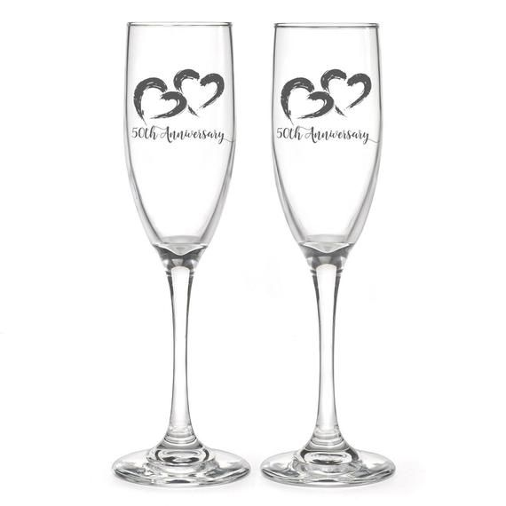 Personalized 50th Anniversary Wedding Flutes, 2 Toasting