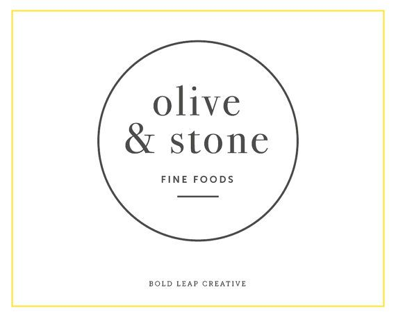 """Premade Logo Design - Boutique Logo, Circular, Round, Simple, Modern, Hipster, Small Business, Branding - """"Olive & Stone"""""""