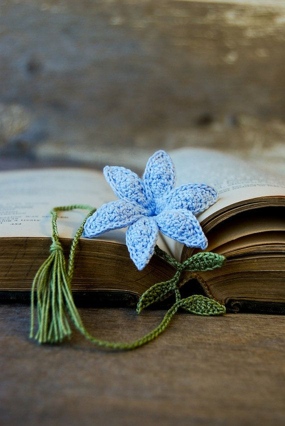 Crochet Flower Bookmark Handmade Blue Lily by joyoustreasures, $18.00