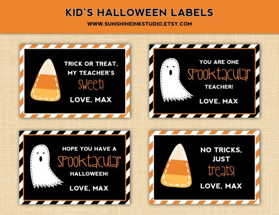 So Fun Modern Kid S Personalized Halloween Labels Favor