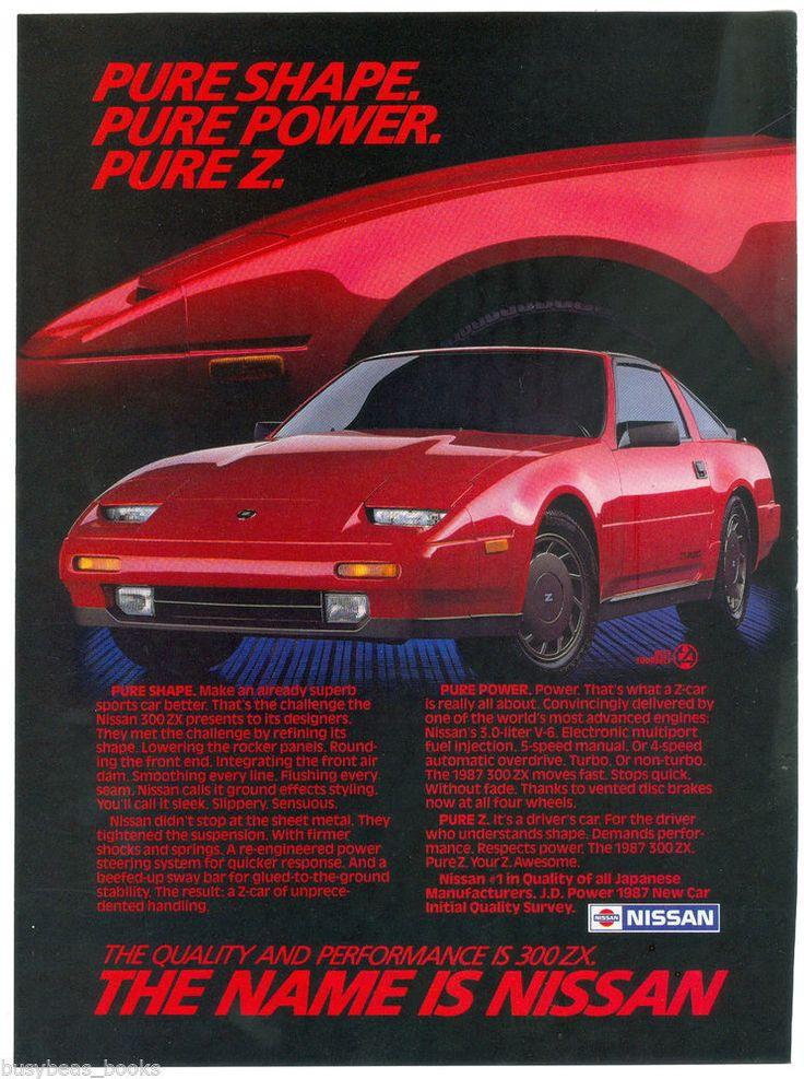 1987 NISSAN 300 ZX advertisement, Nissan 300ZX, red sports car
