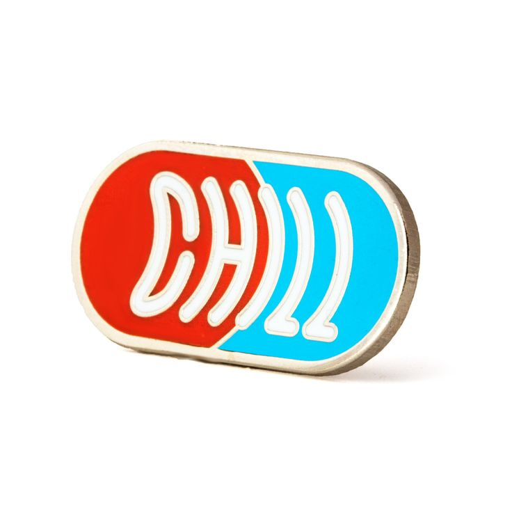"""Chill out - Silver pin with colored enamel - Rubber backing - Measures 1.25"""" wide"""