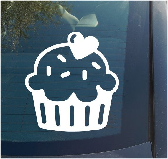 Cupcake vinyl decal sticker 4 inch cute girly funny cake baking sprinkles scrapbooking crafting car window