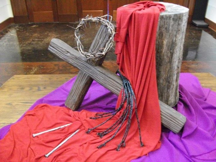 Lent display: I appreciate how it represents the reality of the crucifixion. It literally represents Christ spilling his blood and suffering for us.