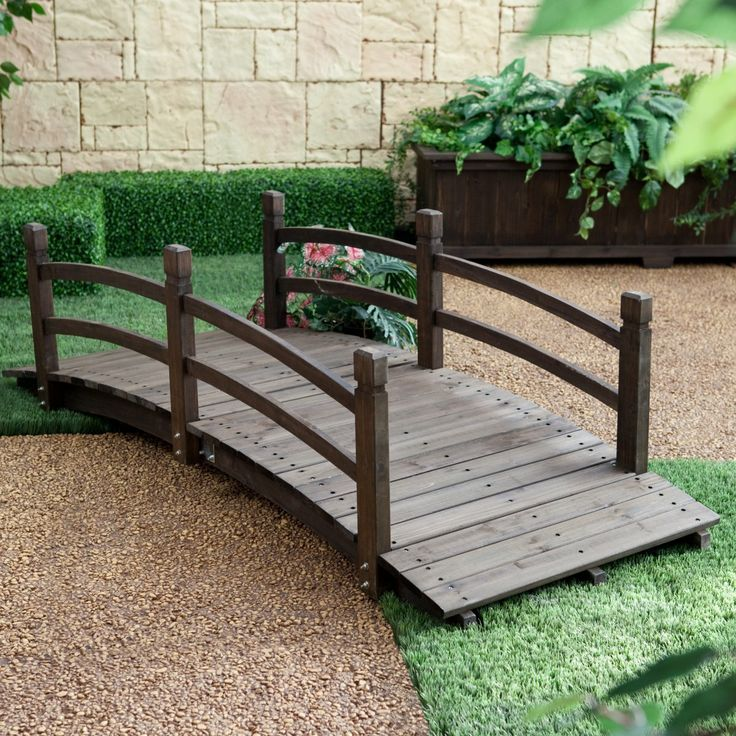 Harrison 6-ft. Cedar Garden Bridge - Dark Brown Stain