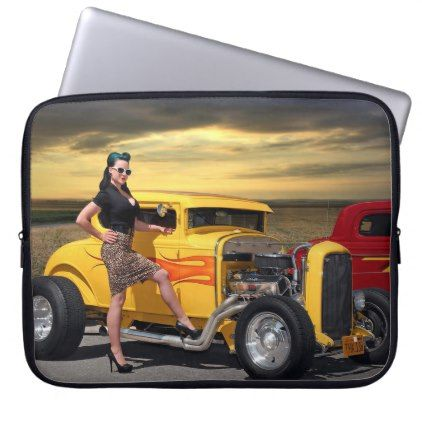 Sunset Graffiti Hot Rod Coupe Pin Up Car Girl Computer Sleeve - vintage gifts retro ideas cyo