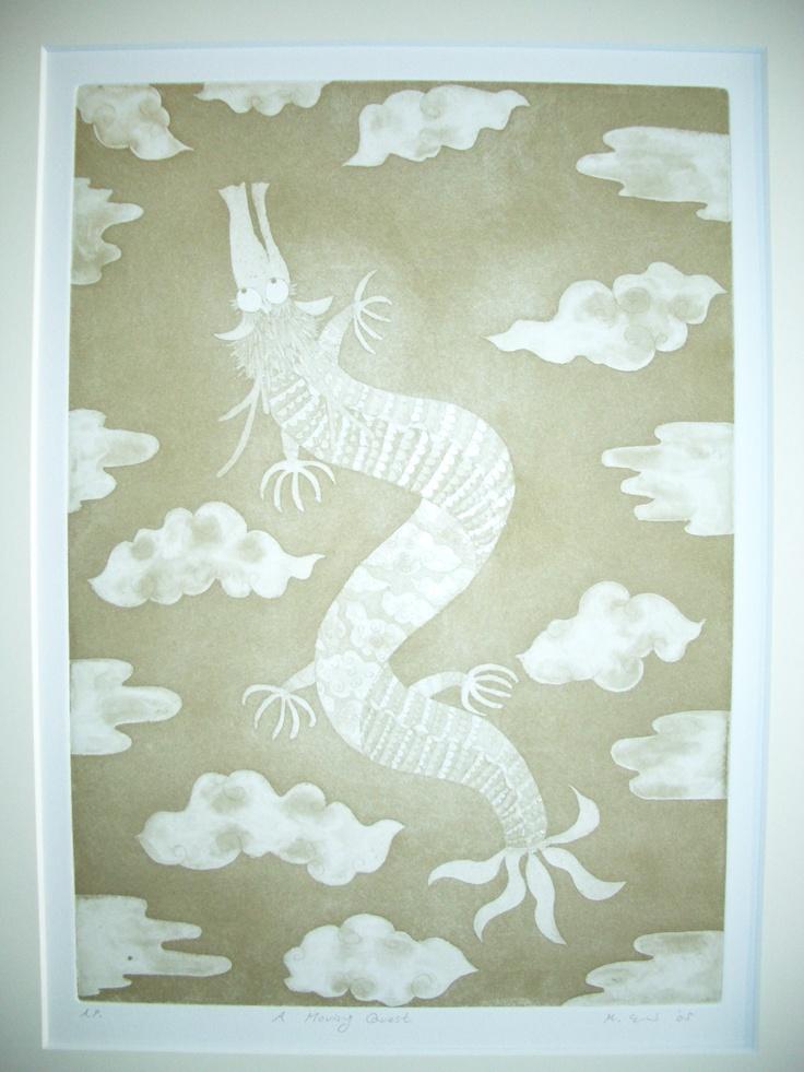 'Moving Quest'  etching,aquatint by Emi Miyake  http://emingm.wix.com/bookishgirls