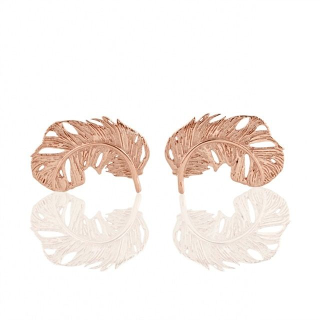 Image of FEATHER STUD EARRINGS ROSE