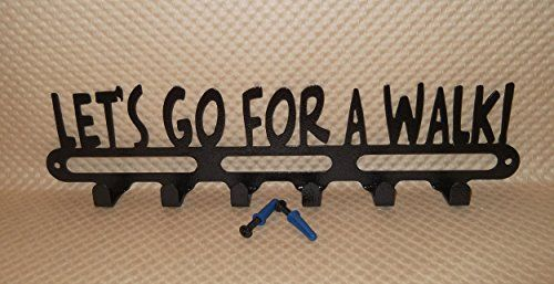 """Dog Leash Holder """"Let's go for a walk!"""" Handmade Jet Black 14 Inches Wide Hardware Included"""