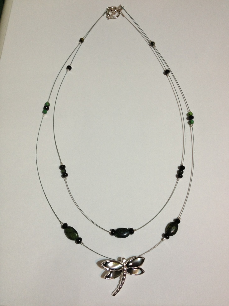 Dragonfly necklace with double tier suspended olive green marble & black beads - $18