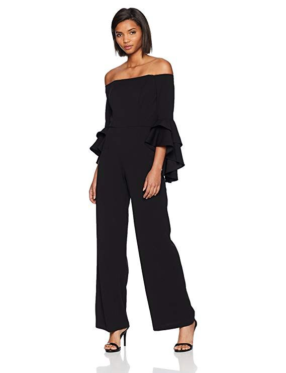 bc1fb9875089 Adrianna Papell Women's Knit Crepe Off The Shoulder Jumpsuit, Black, 10