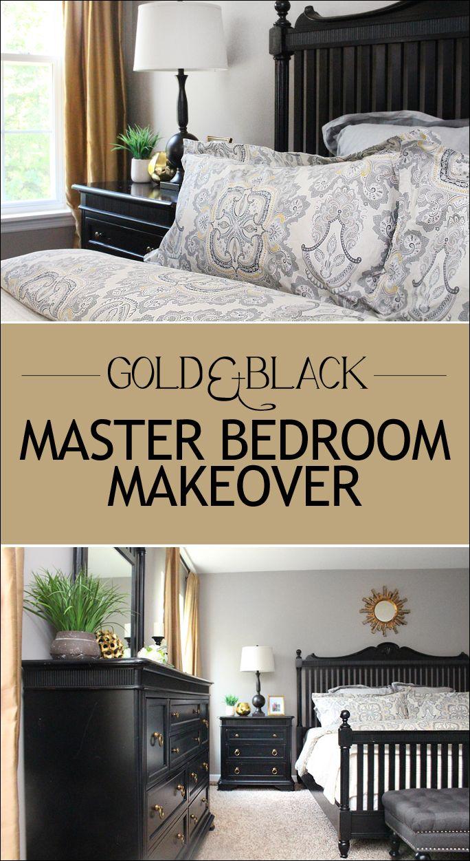Diy master bedroom makeover - Gold And Black Master Bedroom Makeover Love The Bedding