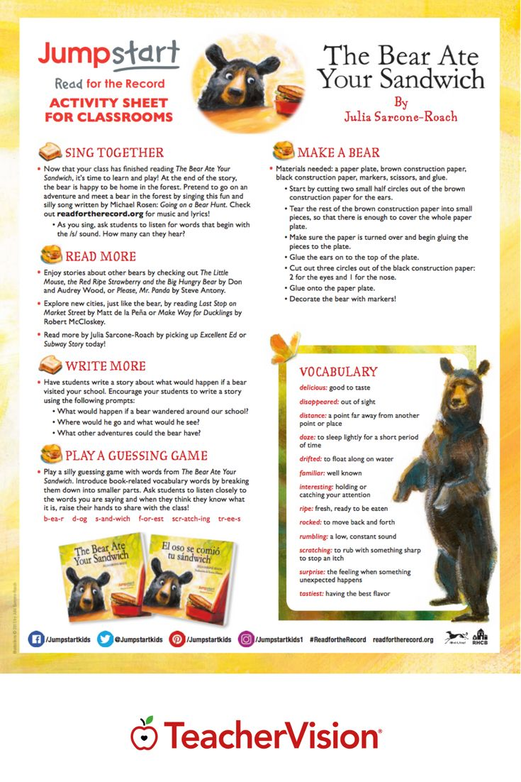Read The Bear Ate Your Sandwich, by Julia Sarcone-Roach, then enjoy these complementary activities to extend learning of the book. (Pre-K - Grade 2)