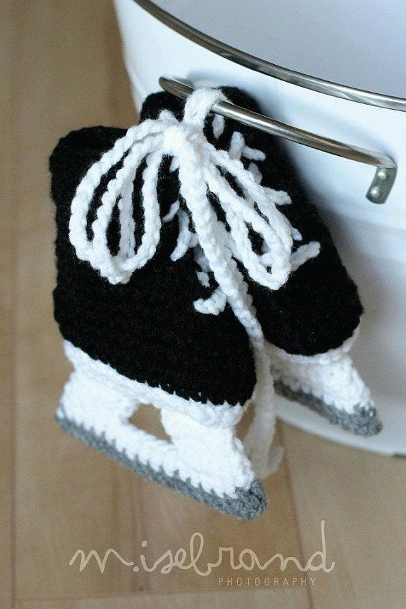 Ice Hockey Skate Booties  Crochet Photo Prop  4 by lavenderlune, $21.95
