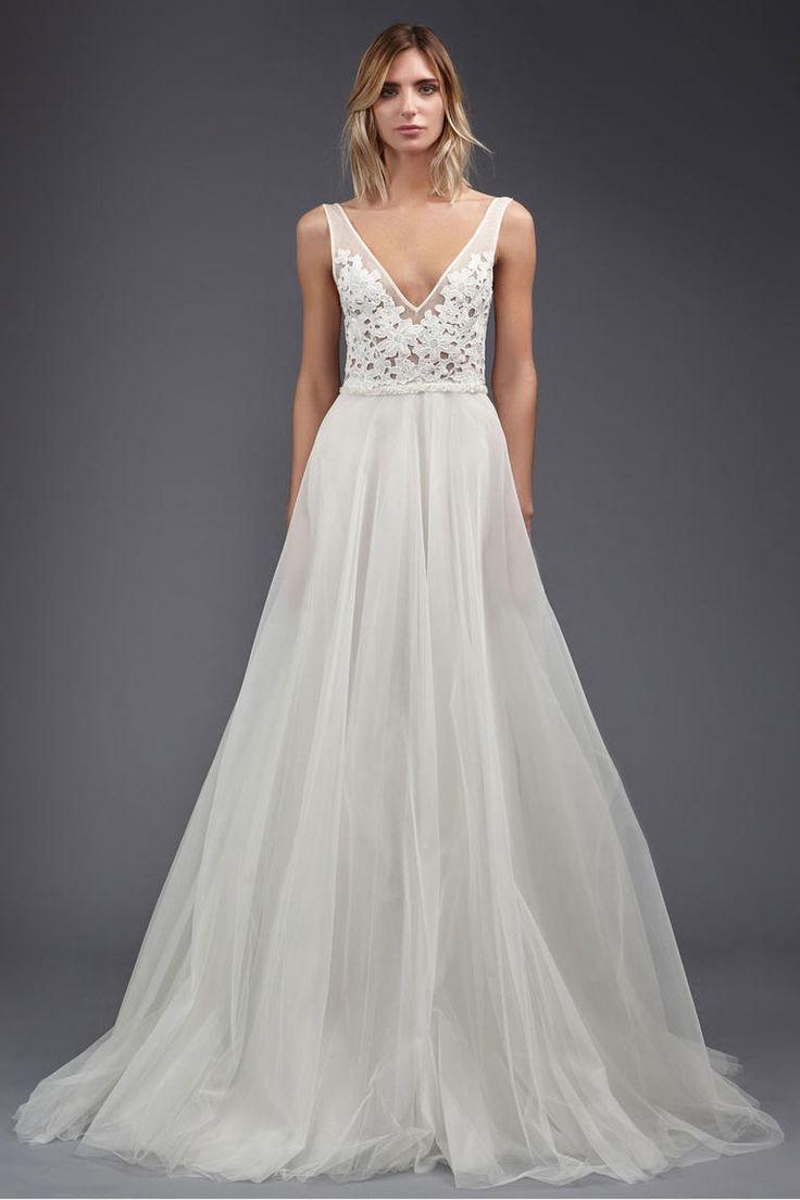 Victoria Kyriakides Spring 2017 bridal collection | V-neck ivory Kippur lace detailing top A-line wedding dress