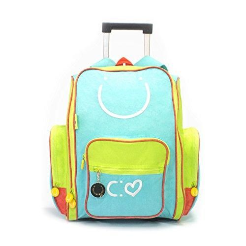 Biglove Rolling Kids Backpack Happy, Multi-Colored, One Size  Big enough to hold textbooks, lunch, a laptop, even clothes and gear when you go camping. This durable crinkled nylon #bag offers ample interior space with side and front nylon zippered pockets with rubber ends for extra space.