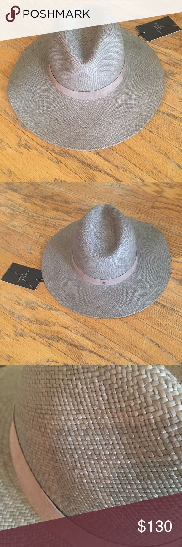 Janessa Leone NWT Angelica wide brimmed Panama hat Vanessa Leone hat in silver sage, 100% straw with suede band. NWT. Tiny defect in straw seen in close up pic. janessa leone Accessories Hats