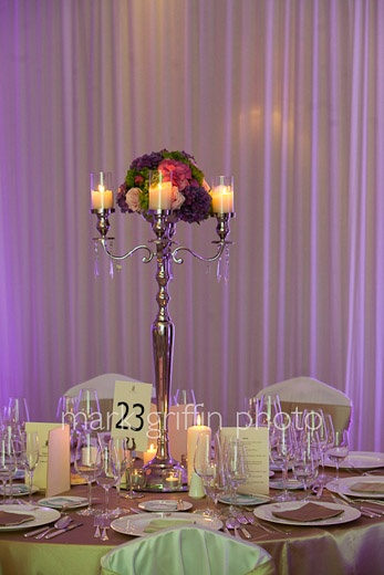 Candelabra with candle holders and flower