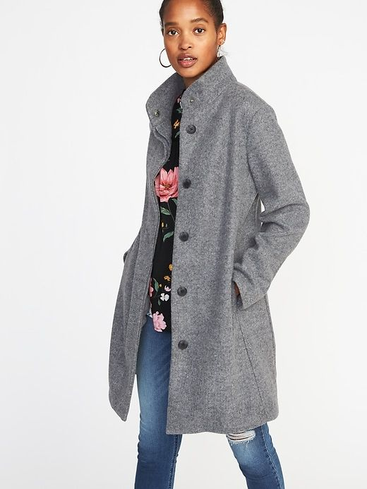 d3cdeb57a0ca8e Bouclé Funnel-Neck Coat for Women | Style Inspiration | Flannel coat ...