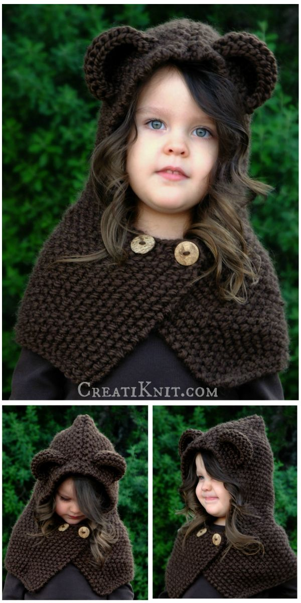 The Briar Bear Cowl - Knitting Pattern.  Bear hugs & yarn snuggle up together to give you a quick & fun woodland knitting project!
