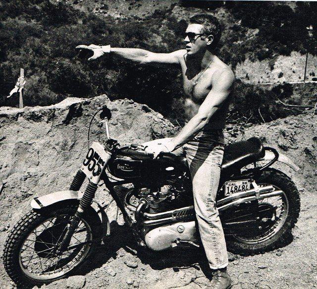 Steve McQueen on a Triumph Motorcycle