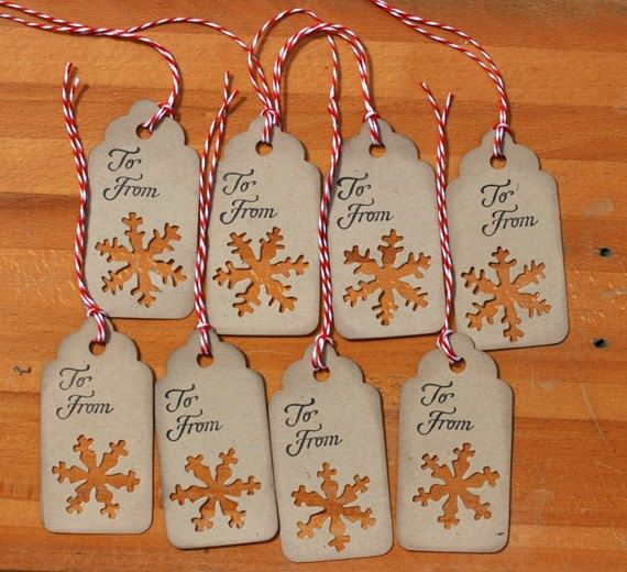 Christmas Gift Tags - Set of 8 Holiday gift tags with twine. $3.49, via Etsy.