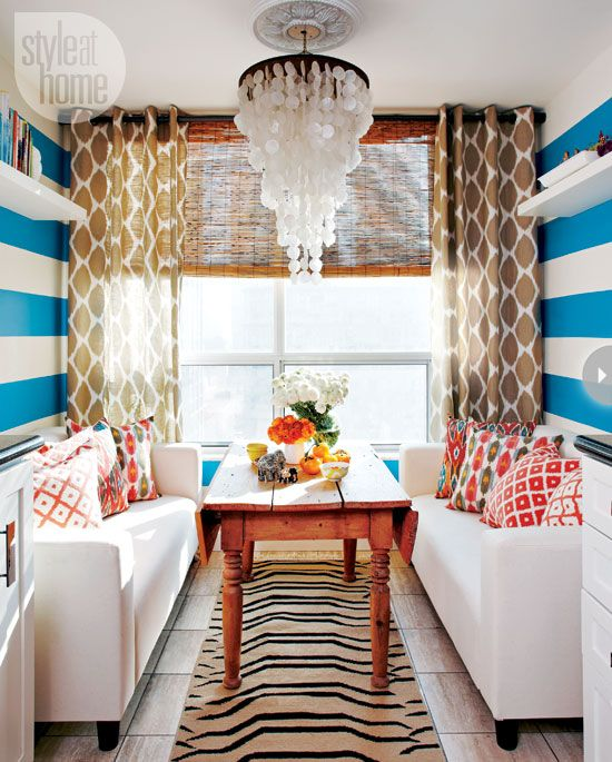 So bright and happy!  Love the use of small space and the dramatic stripes!