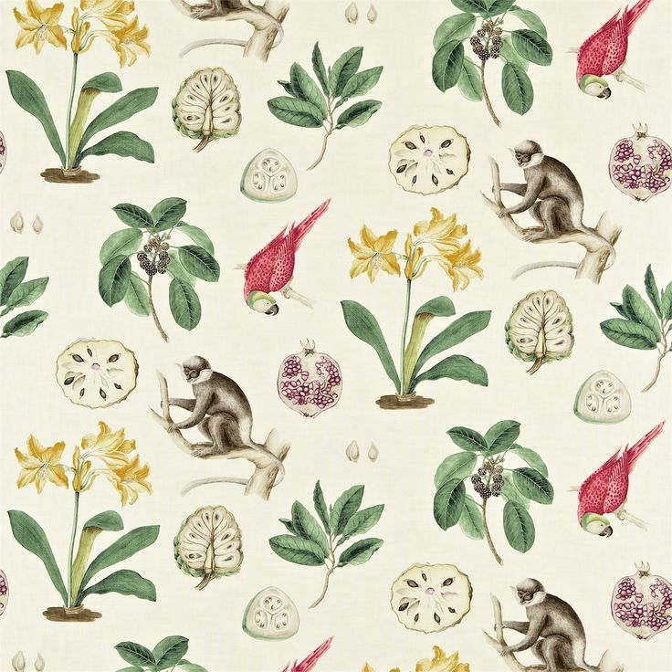Sanderson Capuchin fabric with red and yellow accents. Love the monkey detail!