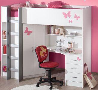 Calder High Sleeper Cabin Bed inc Wardrobe Chest of Drawers Bookcase Desk Shelving M2270