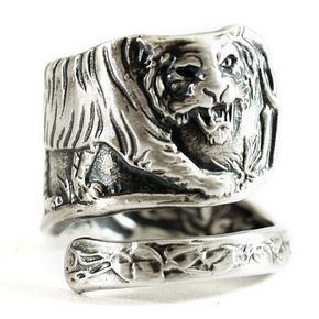 Tiger Ring Sterling Silver Spoon Ring, Asian Tiger, Big Cats, Handmade Ring, Silver Tiger Ring, Wild Animal Ring, Personalized Ring Size 533