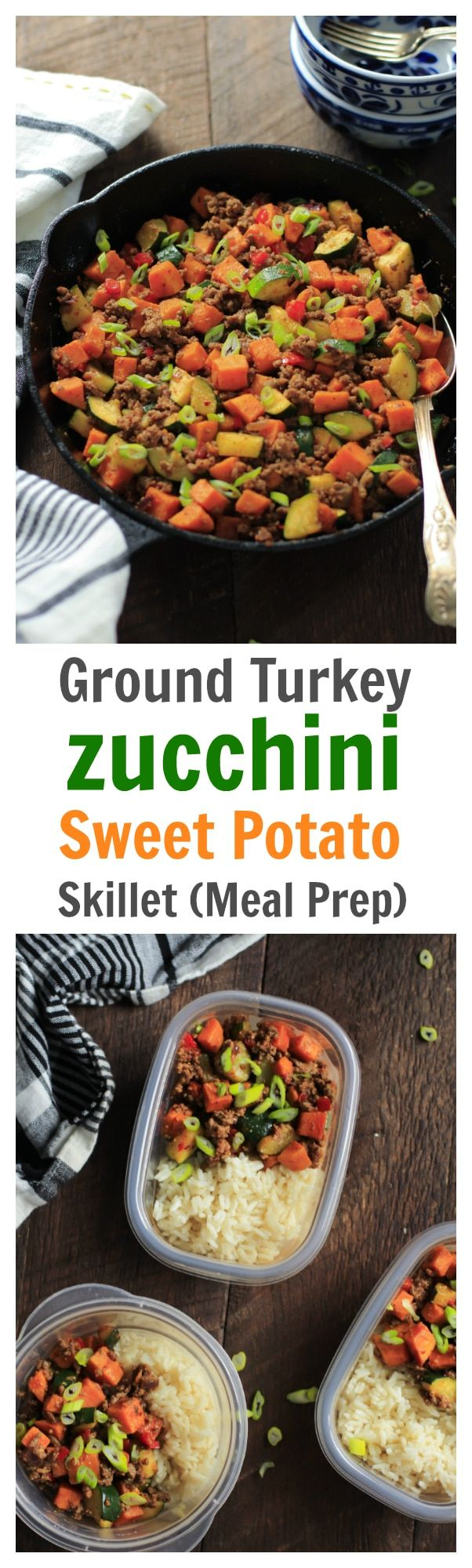 Ground Turkey Zucchini Sweet Potato Skillet - This Ground Beef Zucchini Sweet Potato Skillet is low-carb, gluten-free and paleo-friendly meal that will be ready in less than 30 mins. You will need only one-pan to make this delicious recipe, making clean up a breeze!
