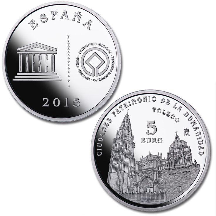 4 reales - Toledo  En el anverso (común para las cinco piezas) se reproduce el logotipo de la UNESCO acompañado, a la derecha, por el emblema oficial de la Convención del Patrimonio Mundial.