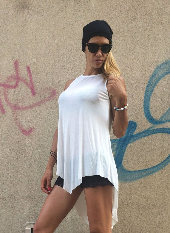 New Design White Loose Tank Top /  Soft Casual by SSDfashion