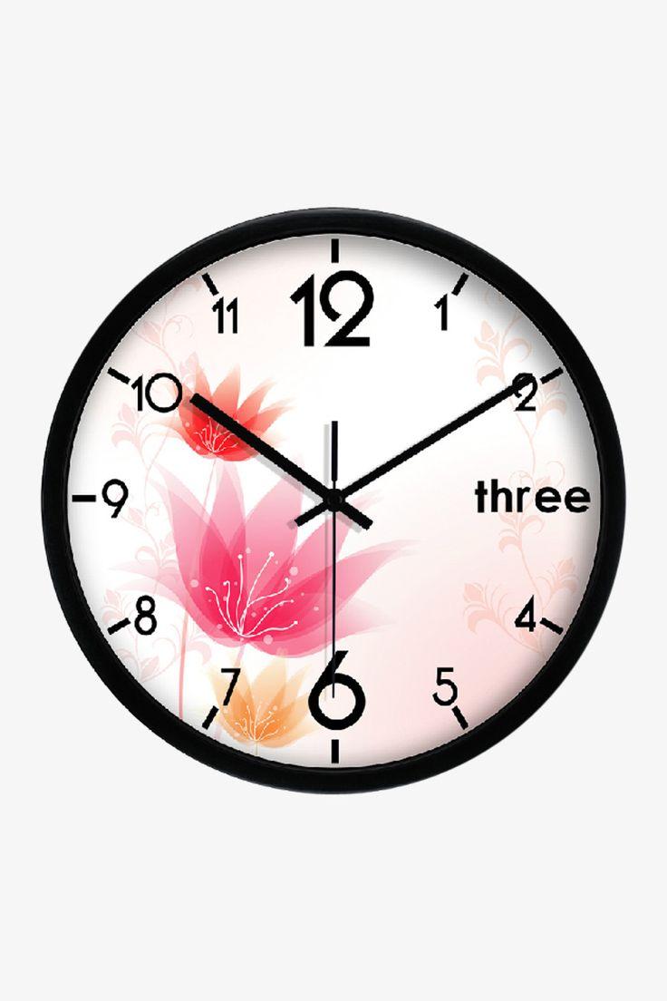 Fashion Floral Art Wall Clock In Black