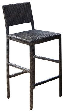 Home Styles Riviera Outdoor Woven Bar Stool in Brown - transitional - Outdoor Stools And Benches - Cymax