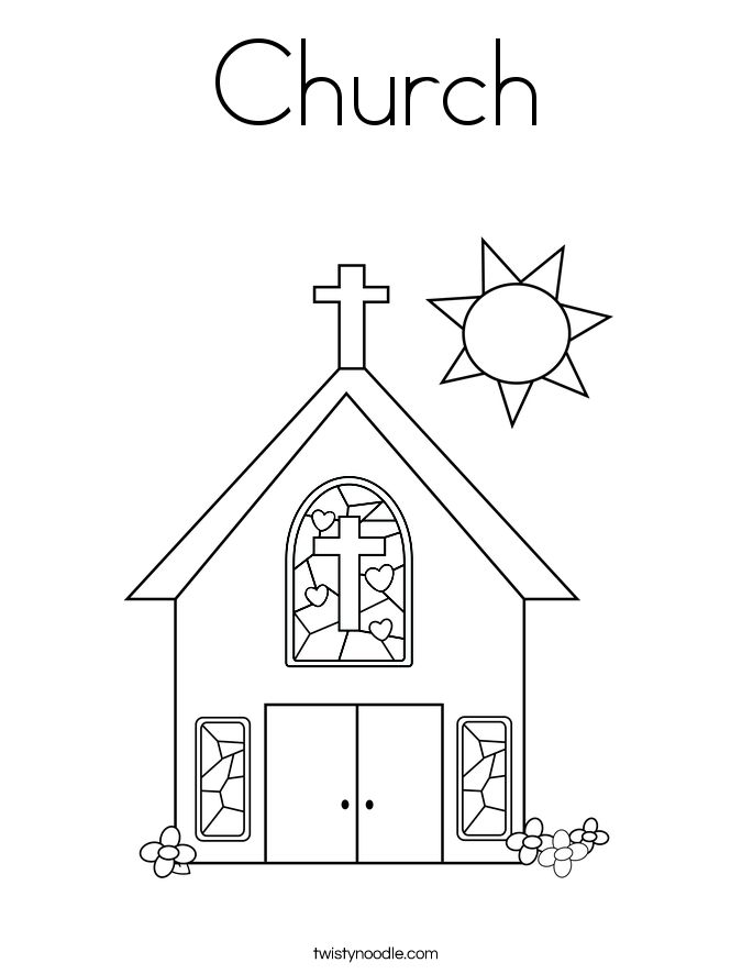 Church With Stained Glass Window Coloring Page Sunday School Colouring Pages