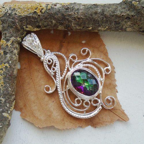 Regenbogen Mystic Topas, Anhänger, Silber plattiert in Uhren & Schmuck, Modeschmuck, Halsketten & Anhänger   eBay!