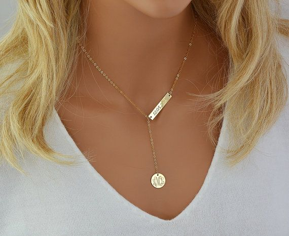 Check out Engraved Monogram Necklace, Lariat Necklace Gold, Monogram Necklace Y, Personalized Necklace, Gold Lariat Necklace Bar on malizbijoux