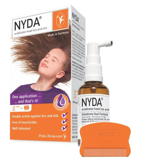 NYDA is German solution for Head Lice and Nits. Lice are regular occurrence but there is no need to be panic. With NYDA - Eradicate Head Lice And Nits in One Application. It does not damage the hair and maintains the natural hair texture. NYDA slight citrus fragrance makes it easy to use. One application is enough to remove lice as well as nits too.  #buyonline #licetreatment #haircare