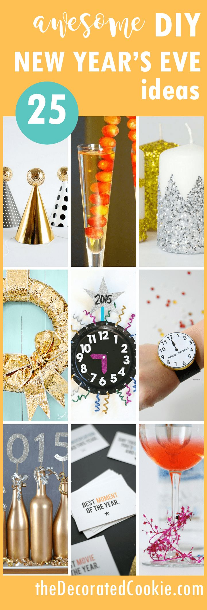 25 awesome DIY New Year's Eve ideas for your holiday party.