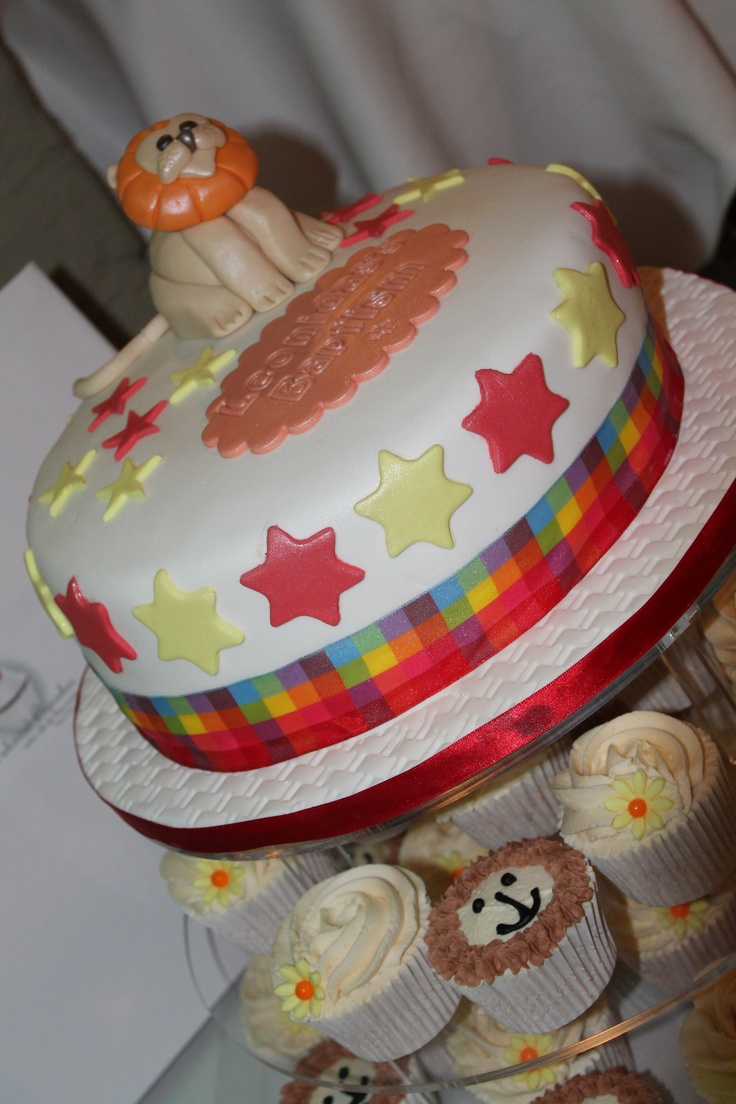 Christening cake and matching cupcakes